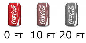 Coke can at different depths