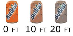 A sunkist can at different depths